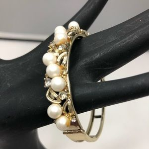 Lister Faux Pearl and Rhinestone Clamper Bracelet